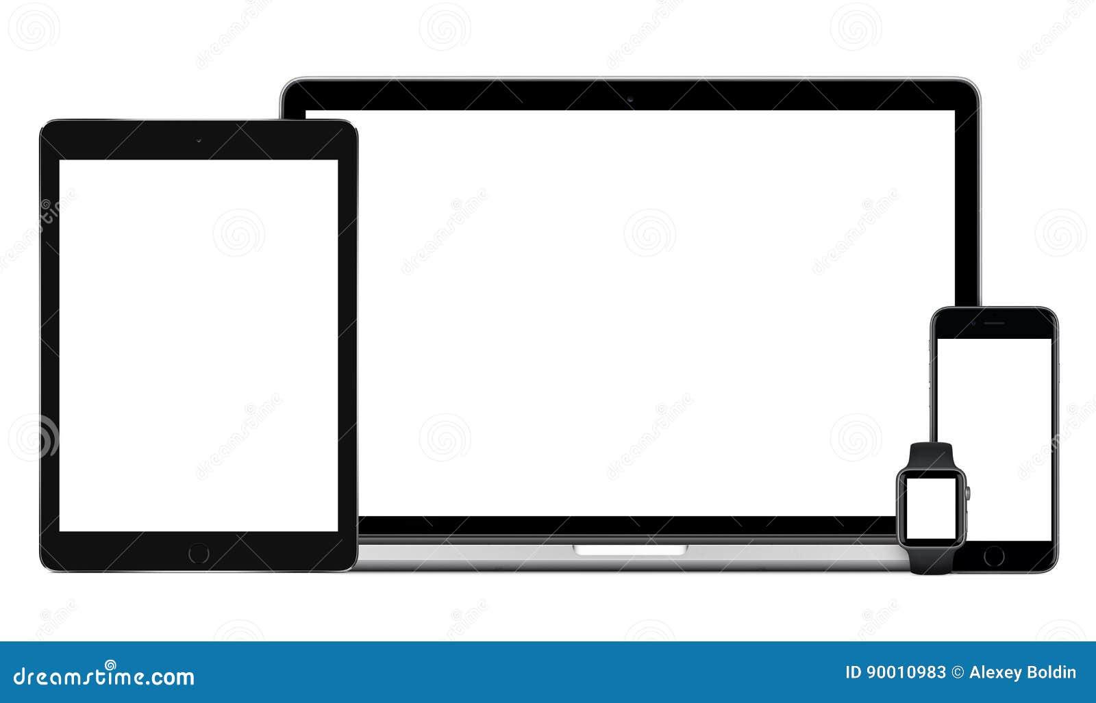 Maquette multi de dispositifs de smartwatch de smartphone de PC de comprimé d ordinateur portable