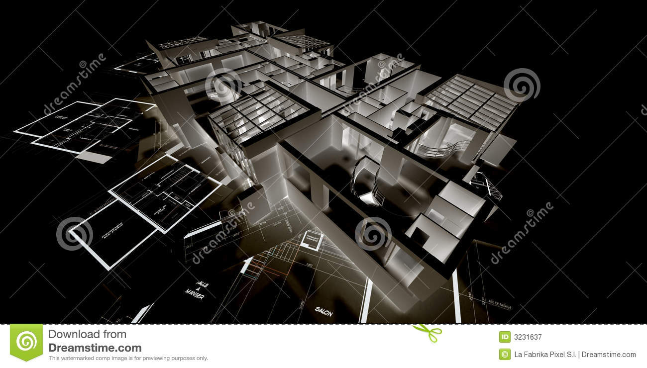 Maquette n gative d 39 architecture photographie stock libre for Maquette d architecture