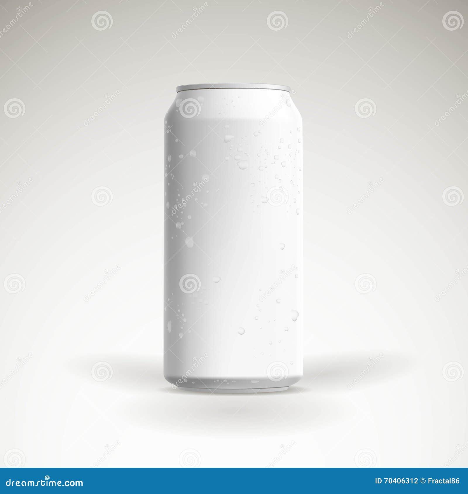 Maquette Photorealistic de canette de bière de vecteur avec des baisses de l eau