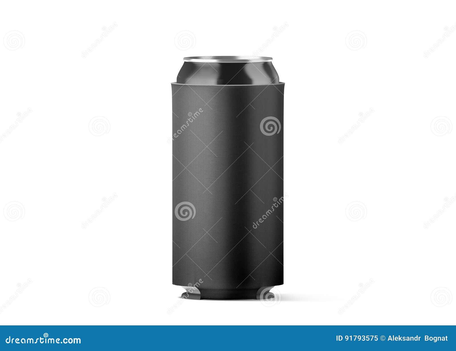Maquette pliante noire vide de koozie de canette de bière,