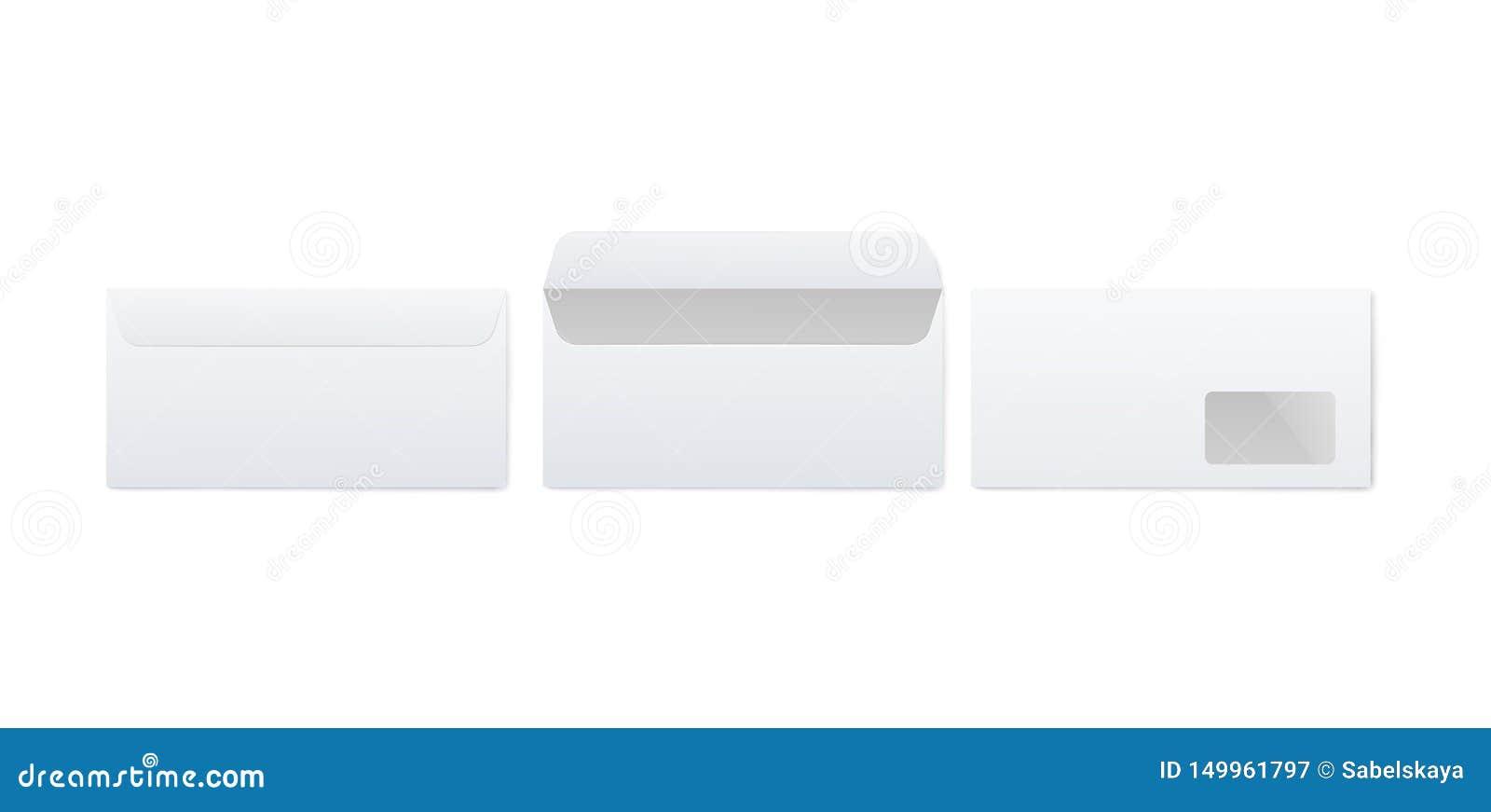 Maquette réaliste de l enveloppe blanche de papier blanc réglée de l avant et de retour de la vue ouverts et fermés