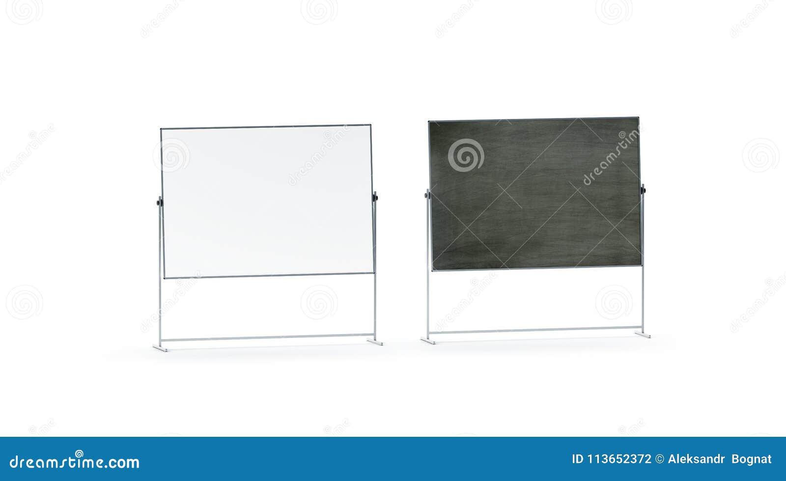 Maquette réglée vide de bureau de panneau blanc et noir de marqueur