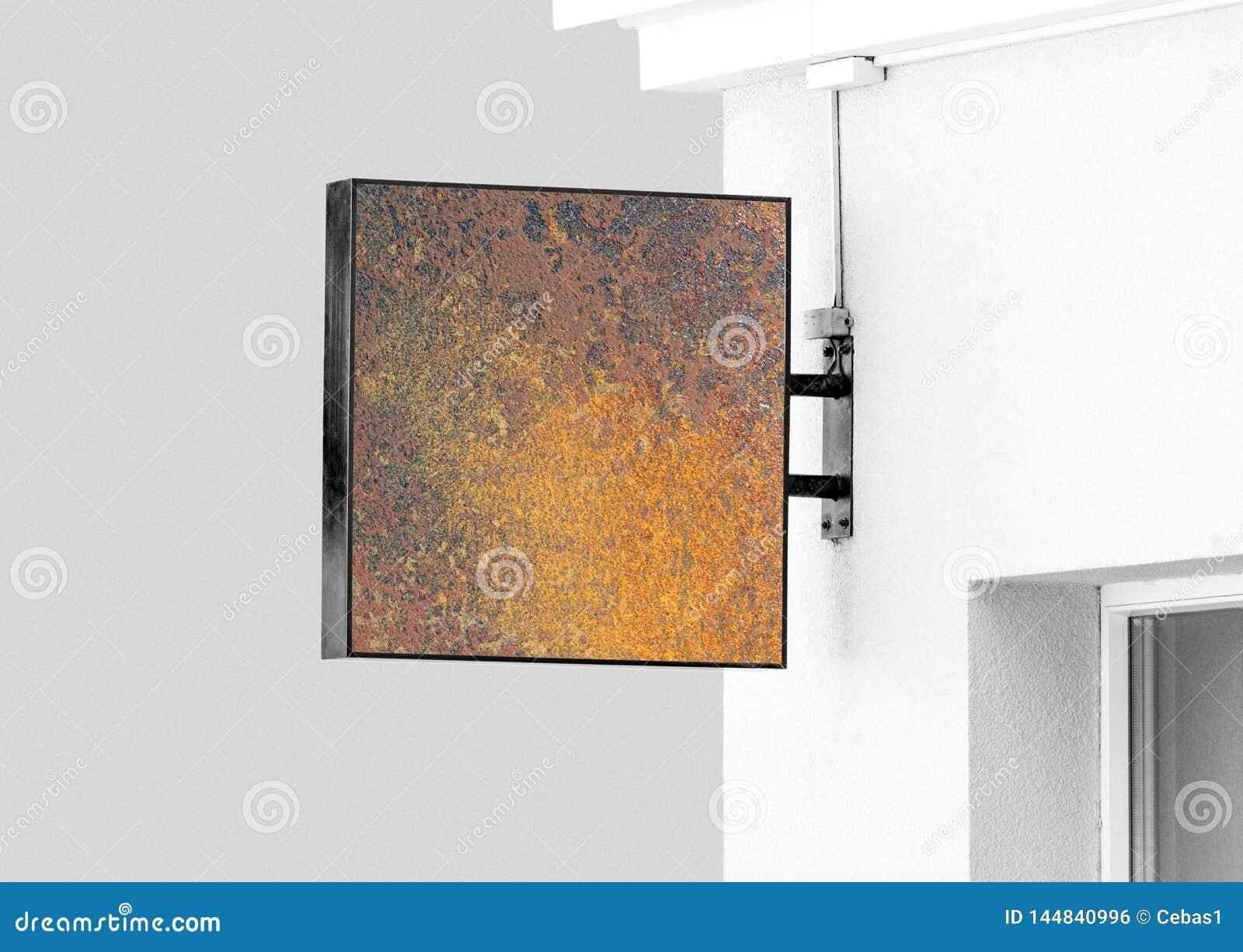Maquette rustique de signe de mur accrochant de blanc avec l espace de copie