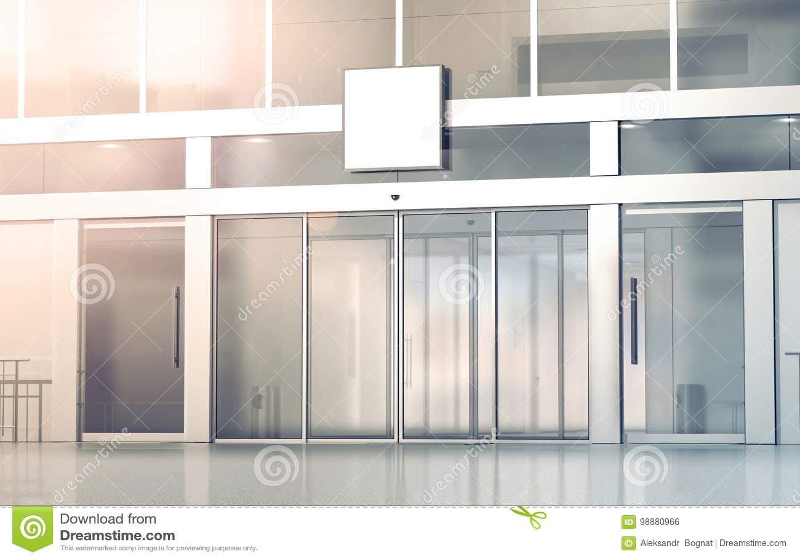 Maquette vide de signage de place blanche sur les portes coulissantes en verre de magasin