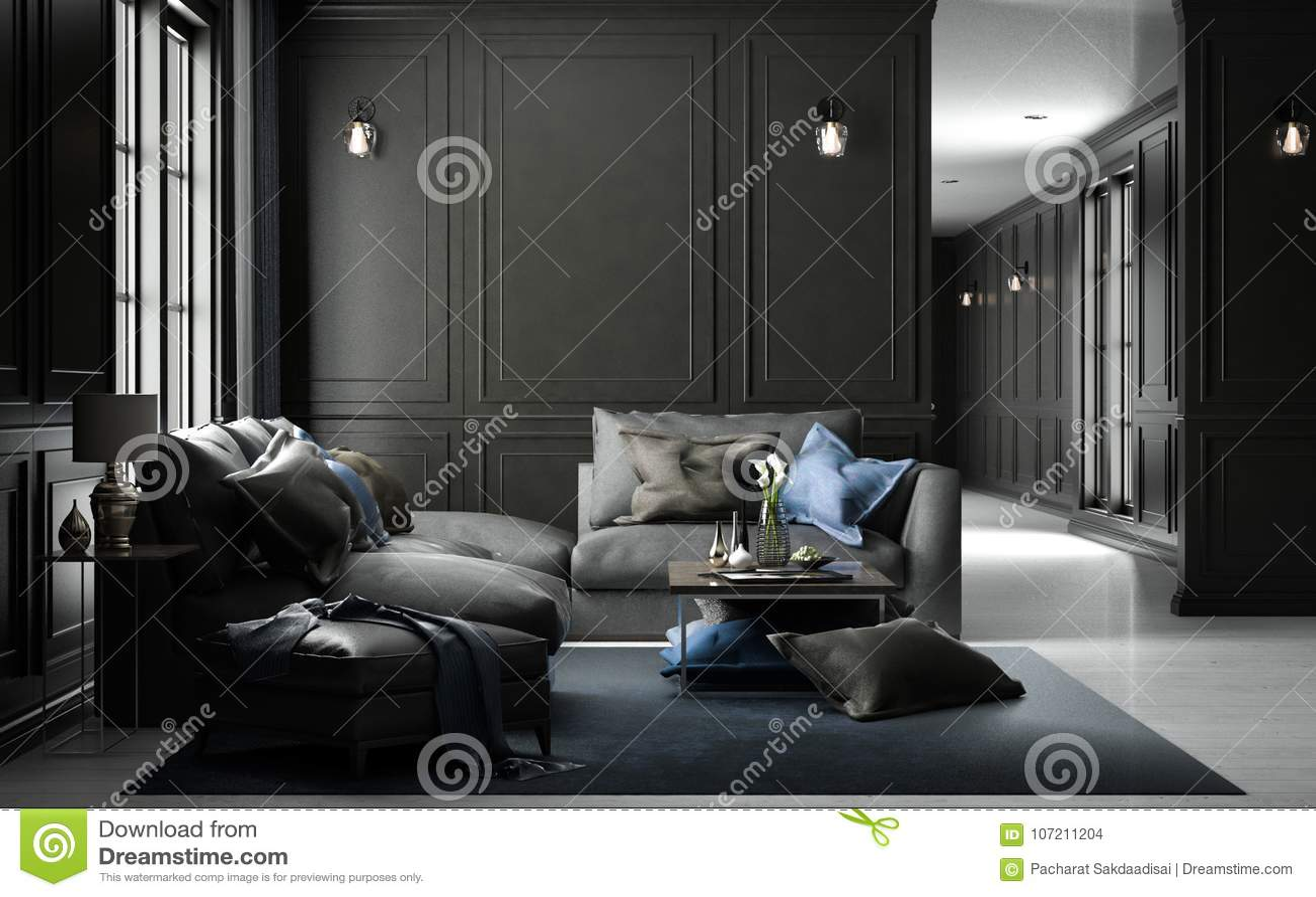 Maquette vivante intérieure de studio, style classique noir, renderin 3D