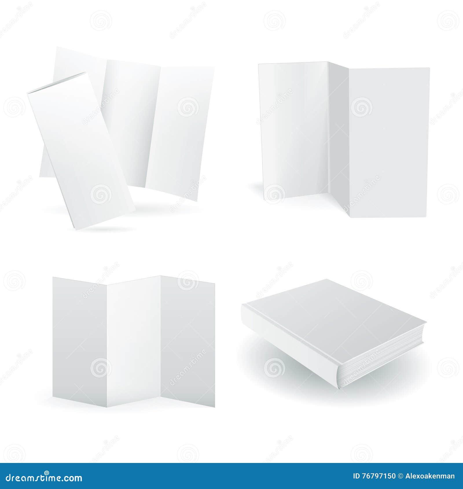 Maquettes de papier de vecteur vide réglées sur le blanc
