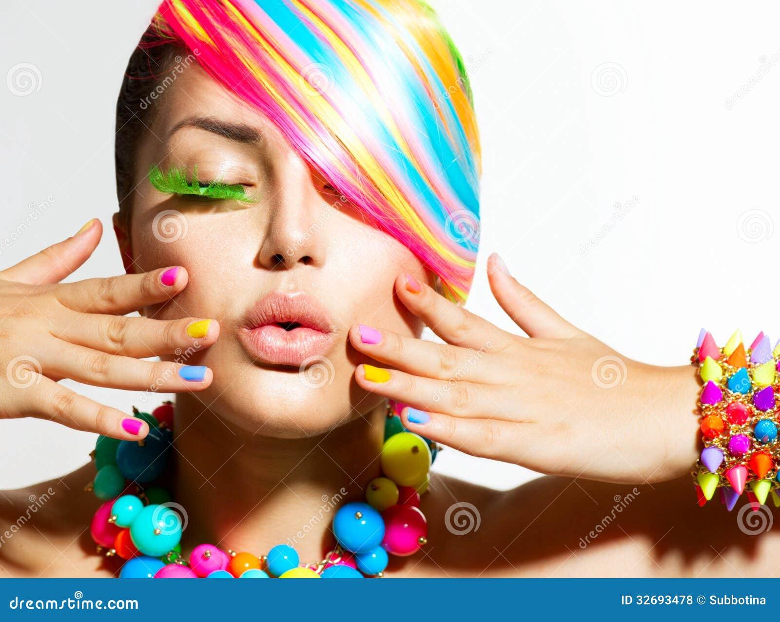 maquillage color cheveux et accessoires photos libres de droits - Colori Maquillage