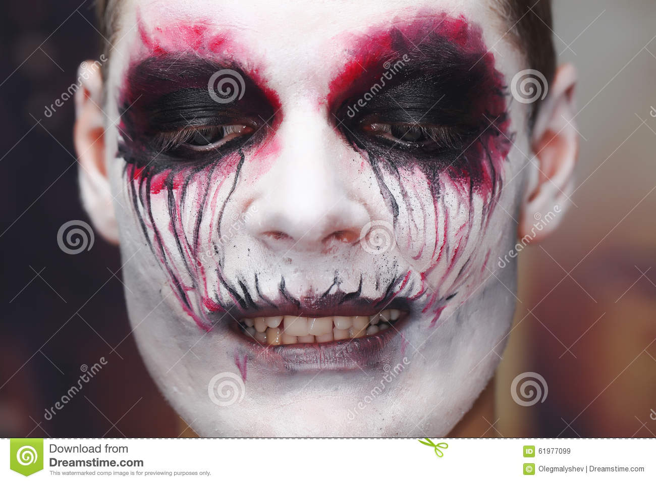 Maquillage Halloween D 39 Homme Photo Stock Image 61977099