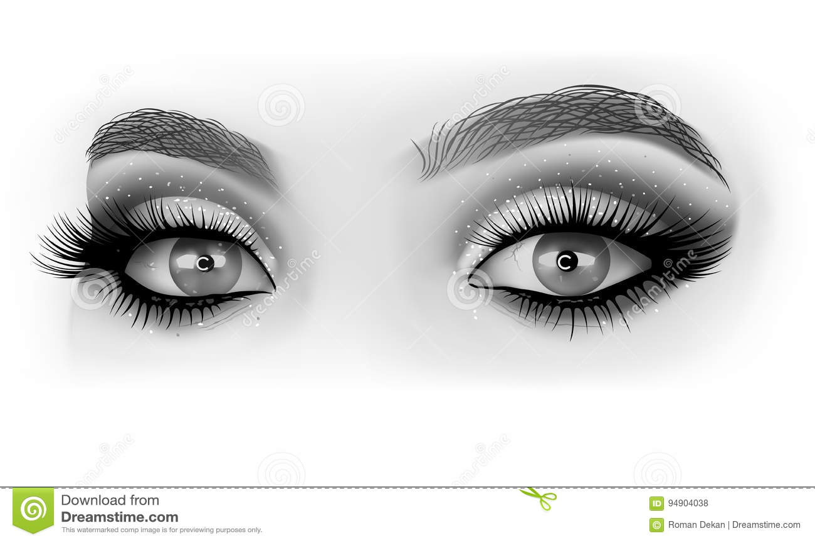 Maquillaje Blanco Y Negro De Los Ojos Ilustración Del