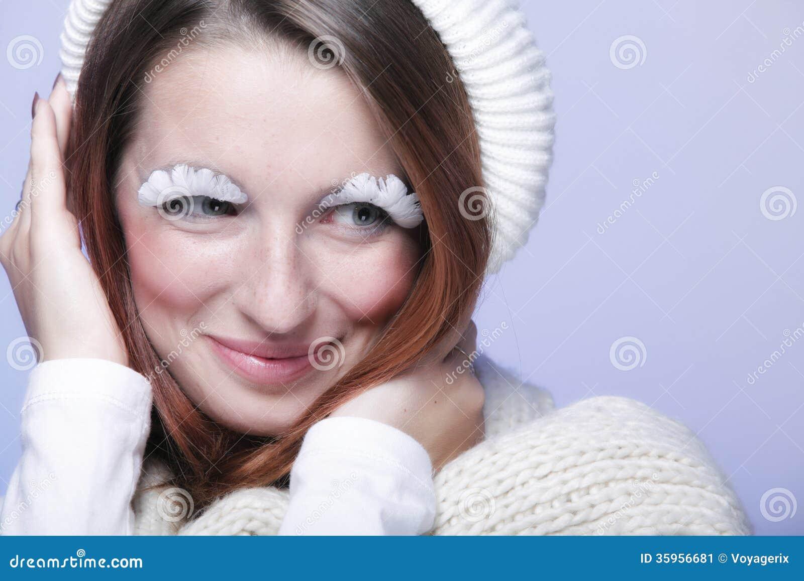 Maquillaje creativo de la ropa caliente de la mujer de la moda del invierno