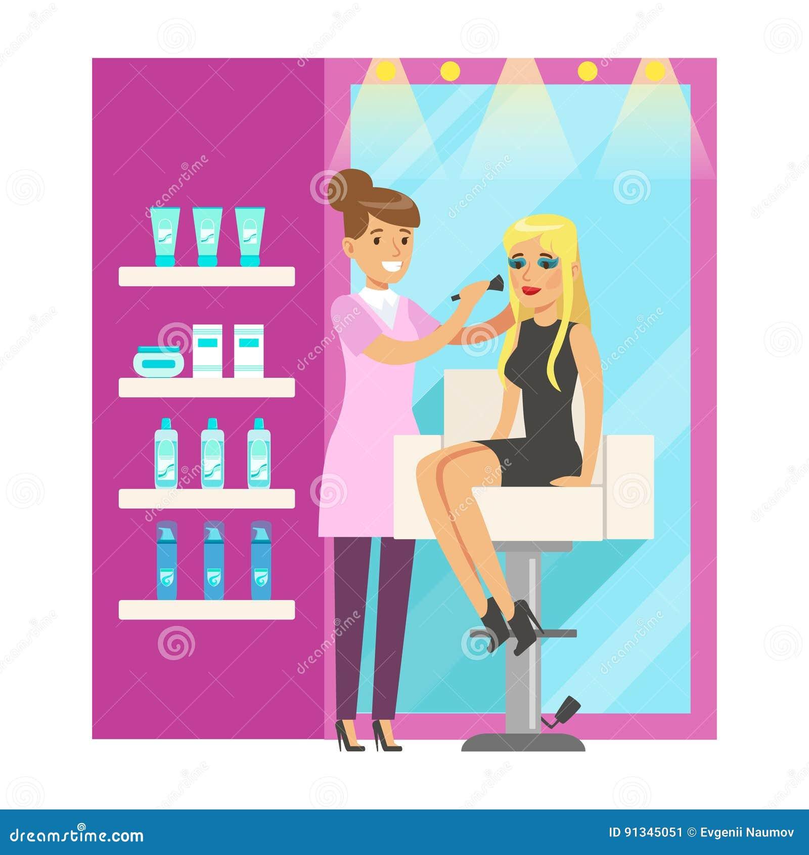 Maquilleur Appliquant Le Maquillage Sur Une Femme Beatuful Dans Le