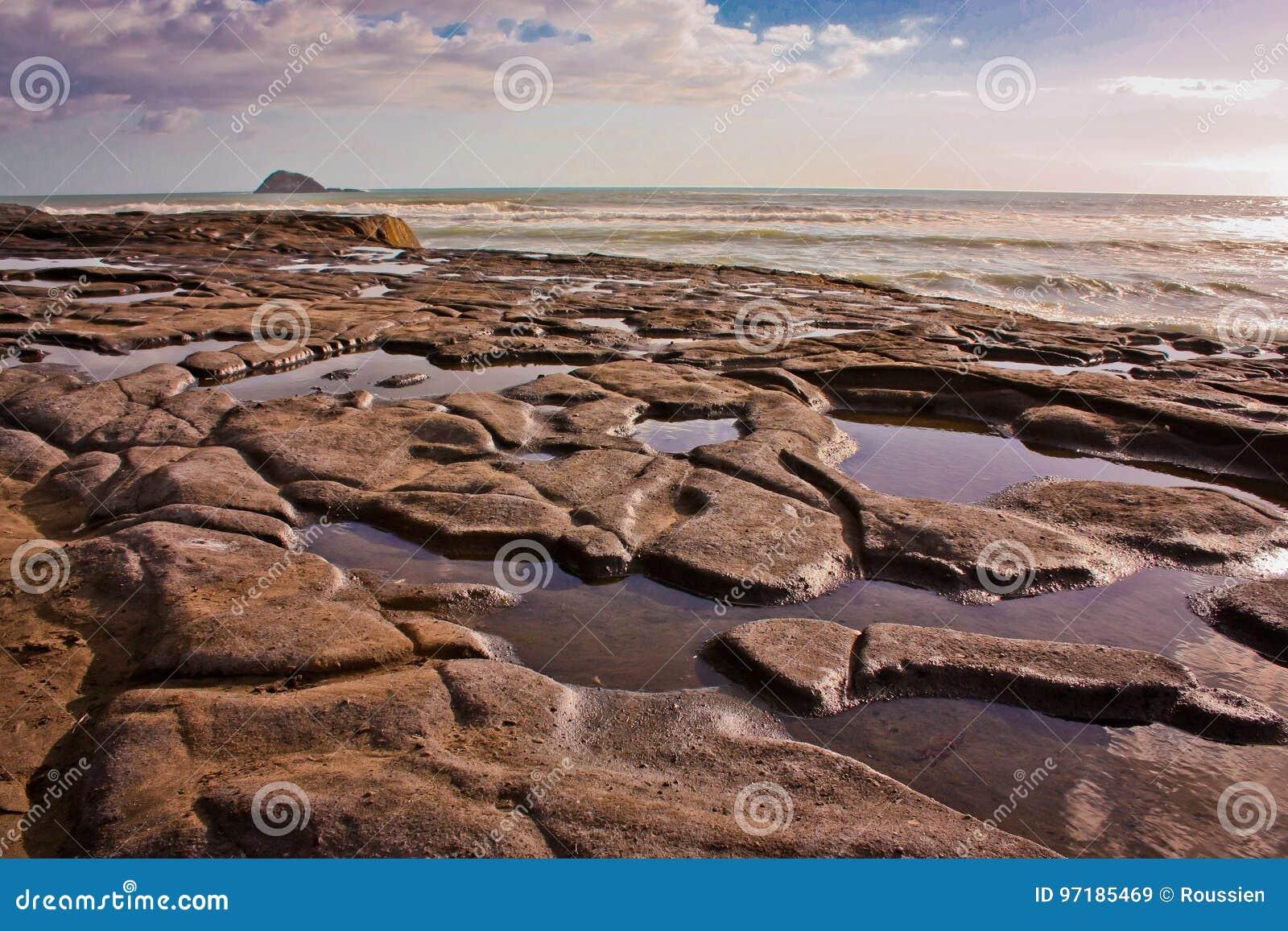 Maré baixa na praia de Muriwai perto de Auckland, Nova Zelândia