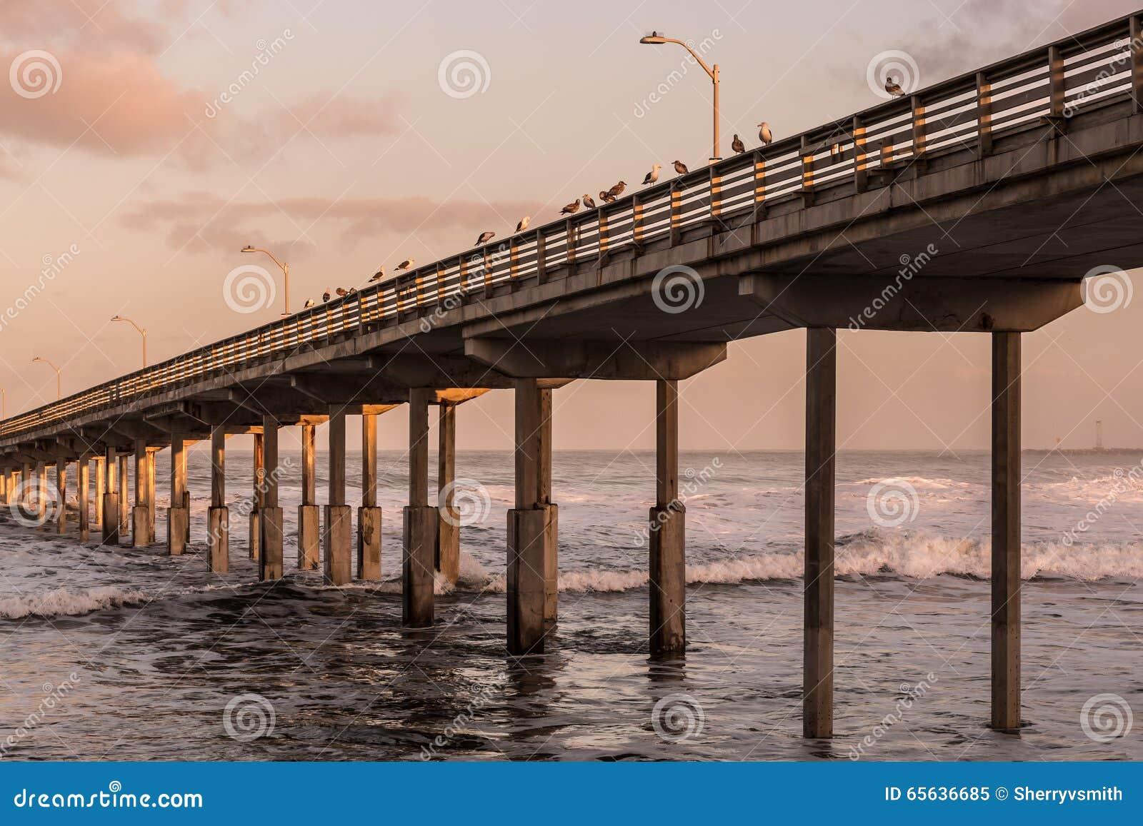 Marée haute au pilier de pêche de plage d océan