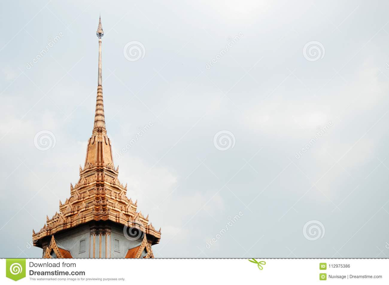 Golden spike roof of Wat Trimitr in China town Bangkok, Thailand