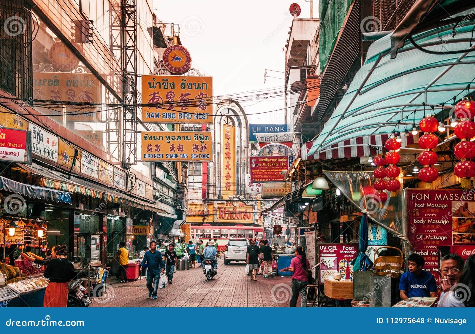 Busy street of Bangkok China town - Yaowarat
