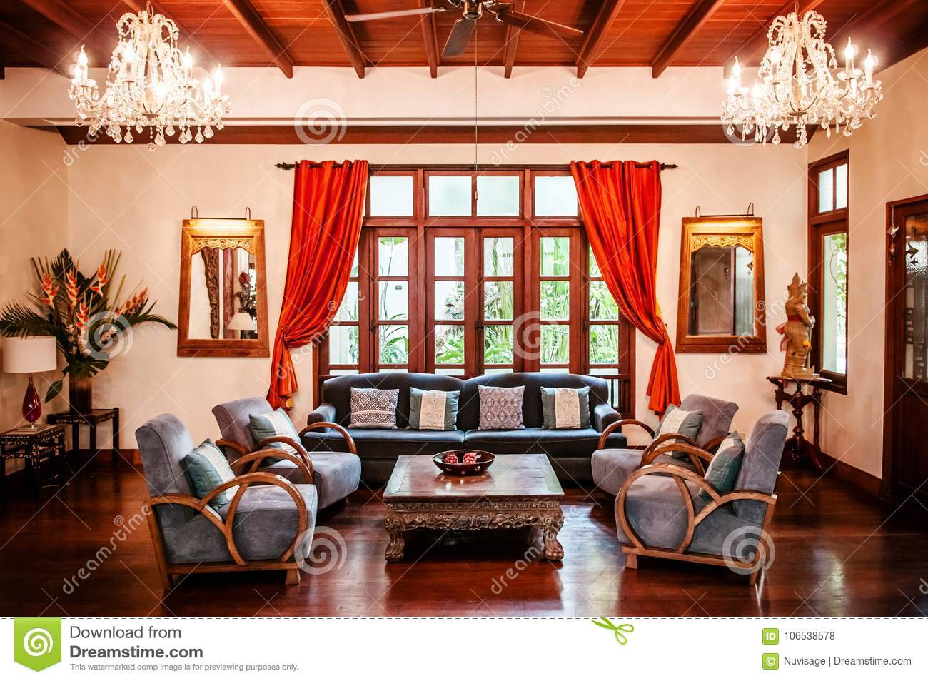 Colonial Style Living Room Wooden Couch, Colourful Pillows And L