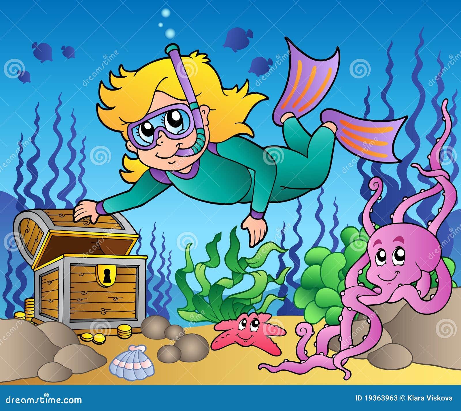 Mar de exploração do mergulhador do snorkel da menina