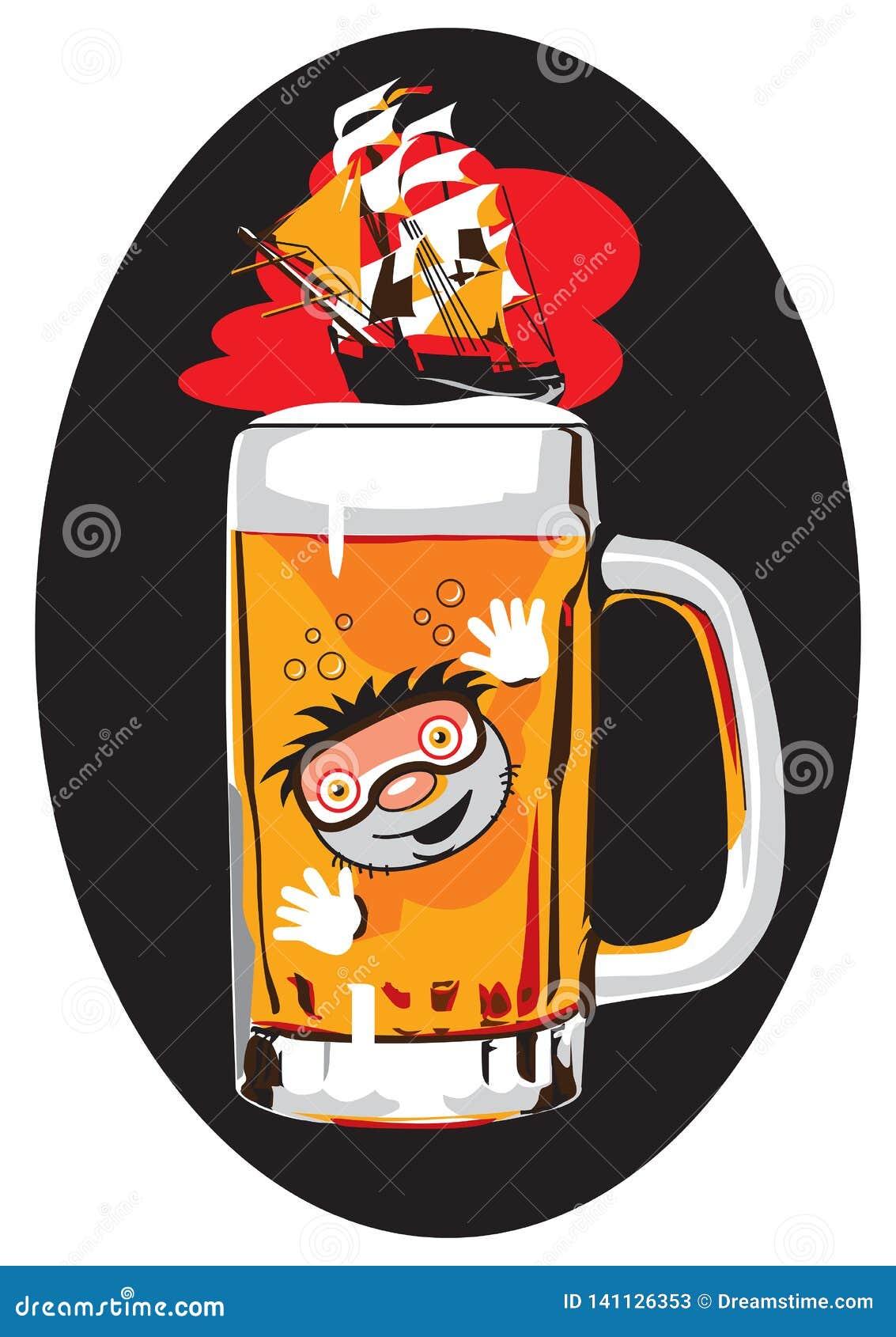 Mar divertido de la imagen de la cerveza en 6 colores