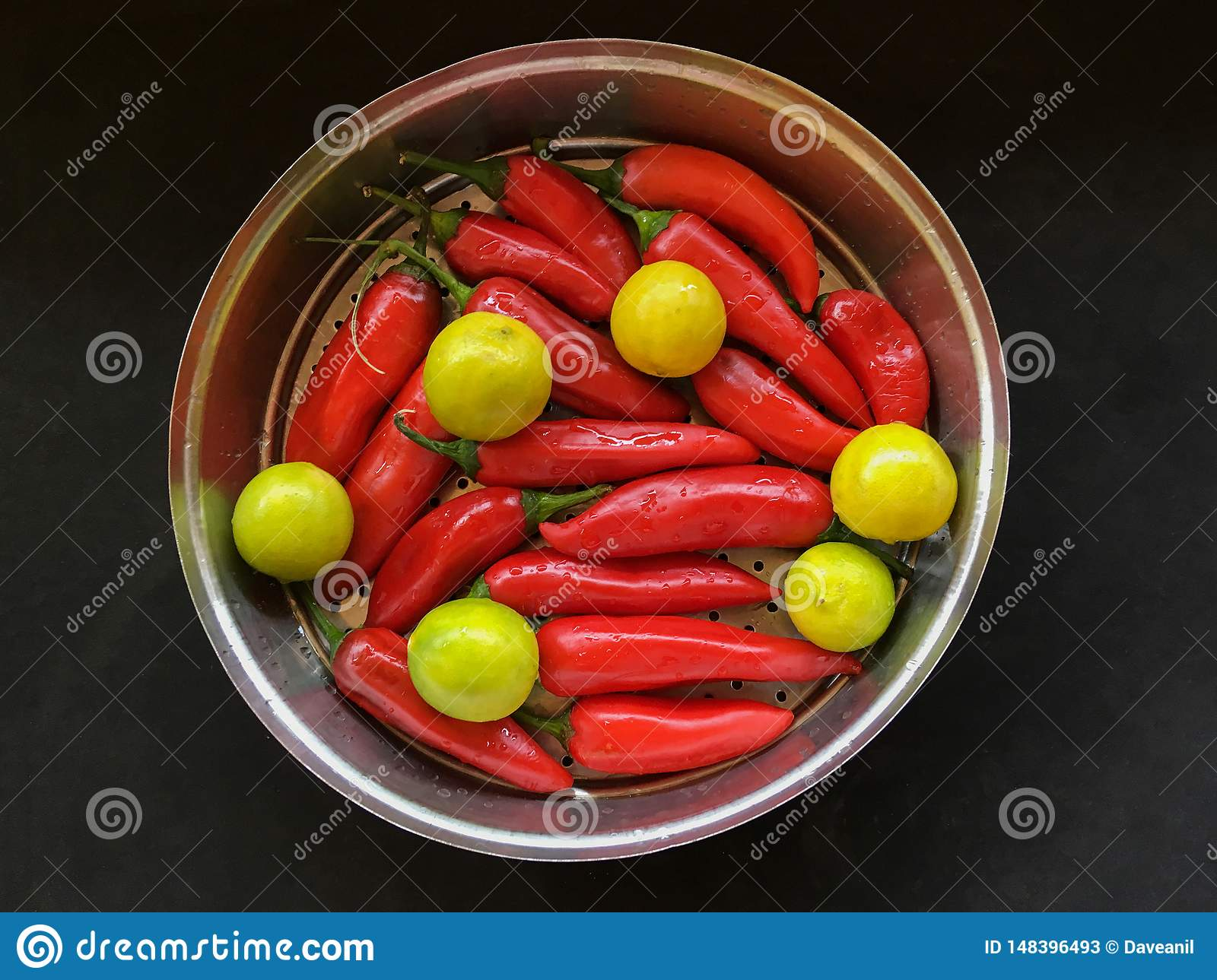 Red tabasco pepper and yellow lime for pickle kalyan maharashtra INDIA