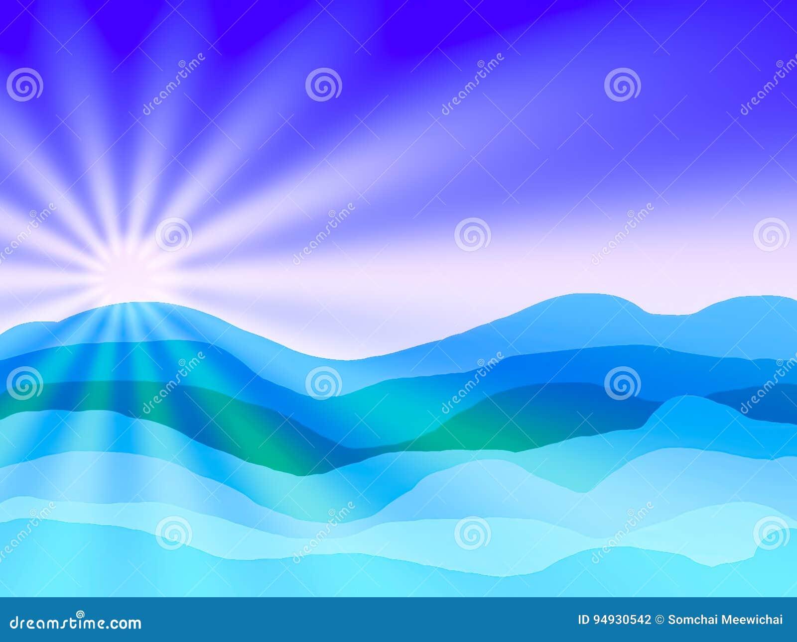 Mar Y Sol Abstracto Y Cielo Azul Con El Dibujo Stock De Ilustración