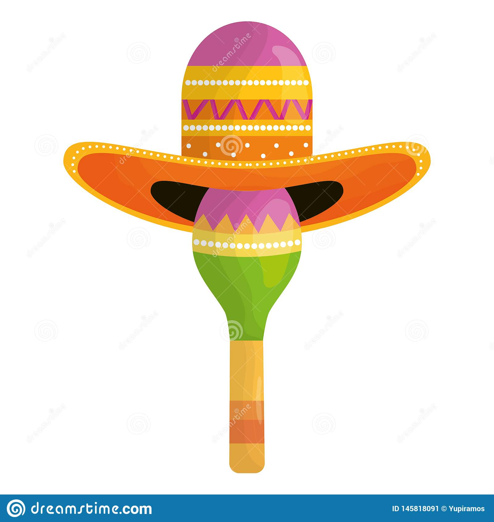 Maraca with mexican hat