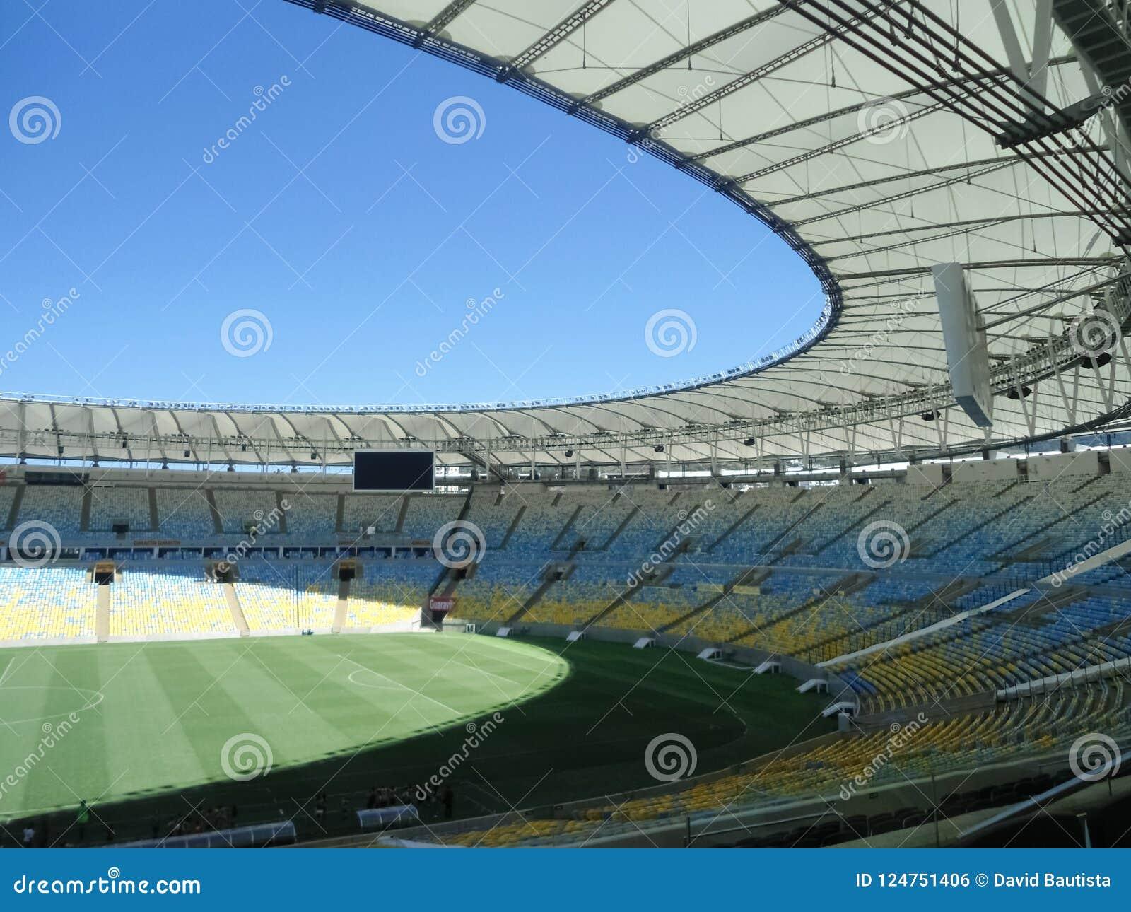 Maracana Stadium located in Rio de Janeiro Brazil. Empty soccer field.