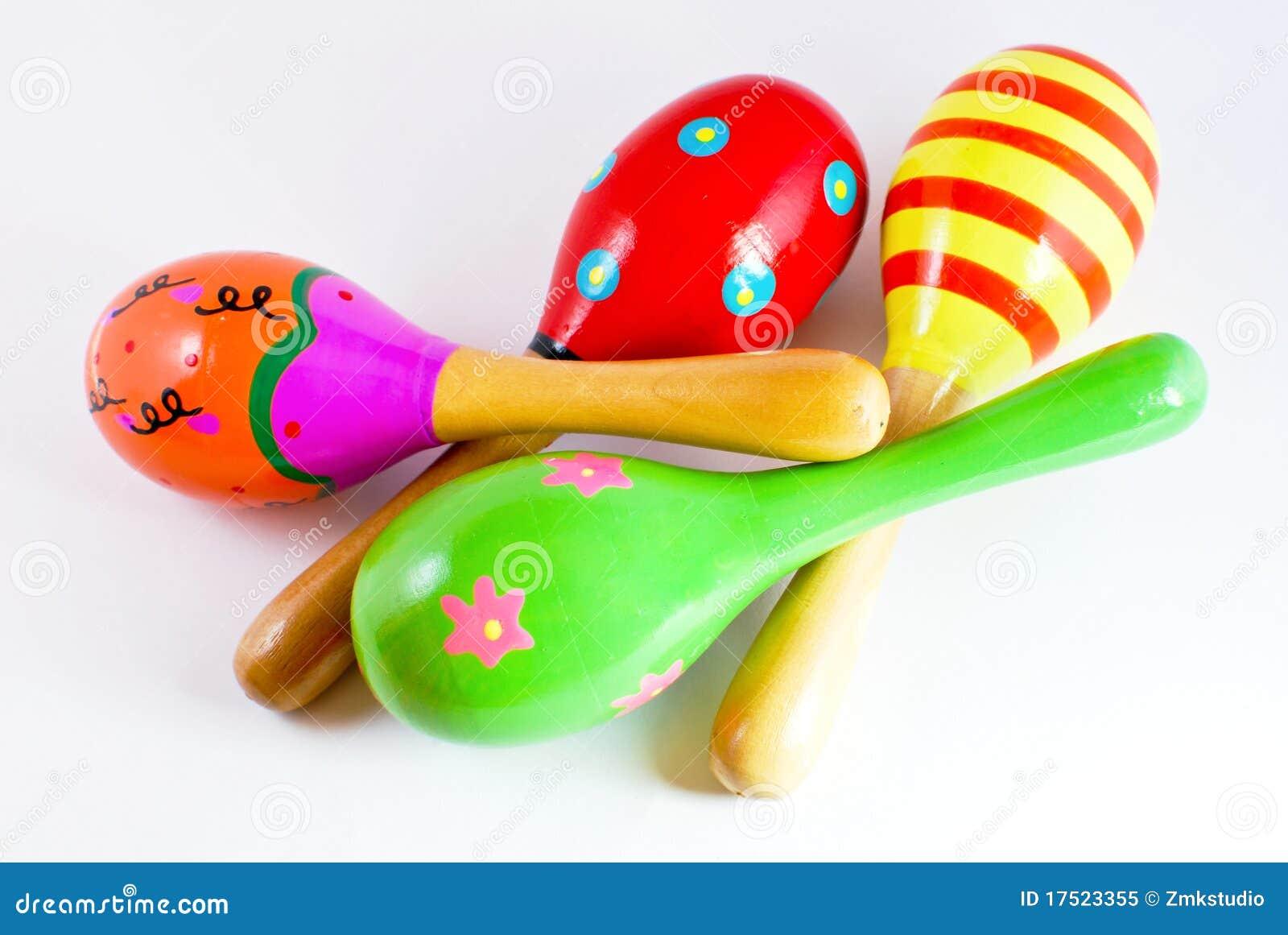 Instrument de percussion en bois coloré de musique de maracas de  ~ Maracas En Bois
