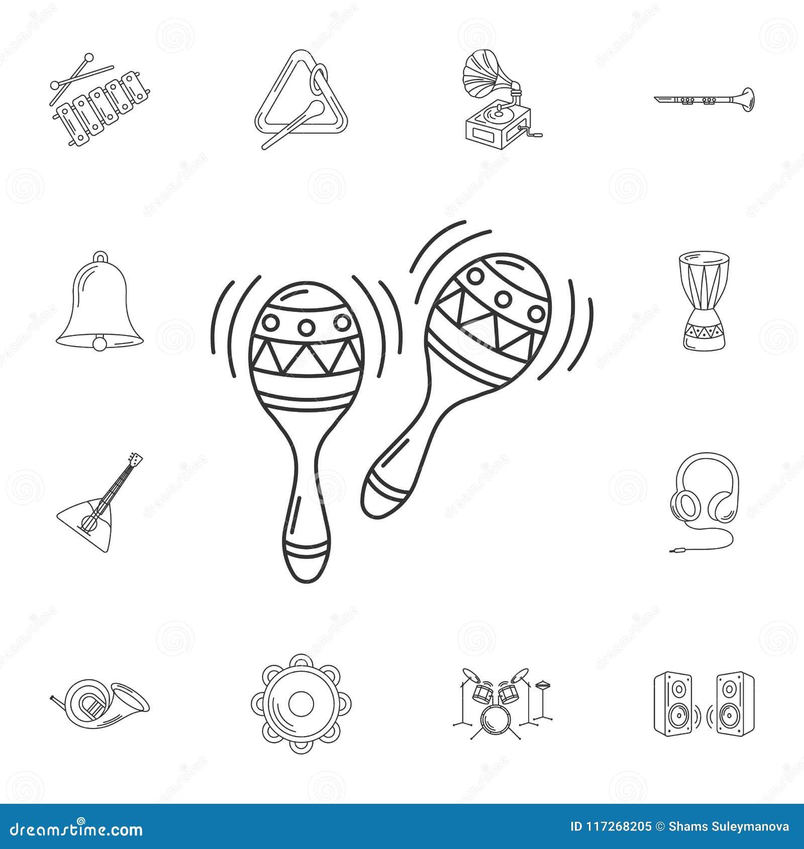 Maracaspictogram Eenvoudige elementenillustratie Het ontwerp van het Maracassymbool
