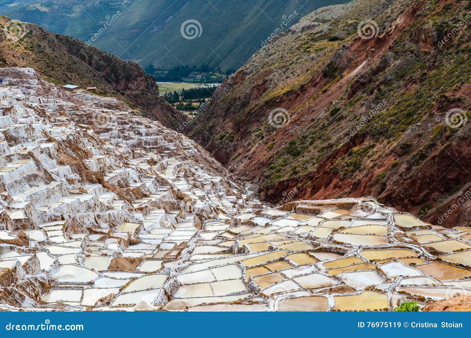 MARAS, REGIÃO DE CUSCO, PERU 6 DE JUNHO DE 2013: As minas de sal de milhares de Maras- de lagoas quadrado-dadas forma desiguais p
