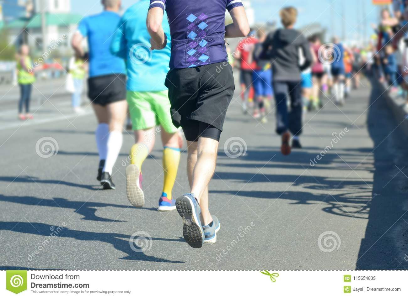 2b3eb03d9bc5f Marathon running race, many runners feet on road racing, sport competition,  fitness and healthy lifestyle concept
