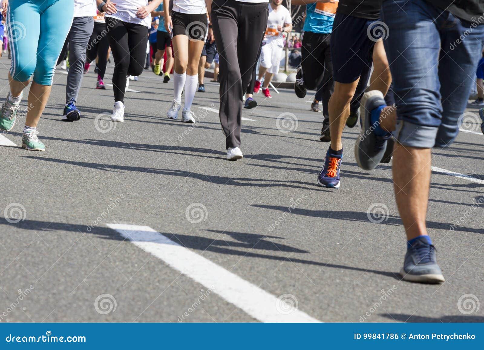 photos officielles 3e2e9 046db Marathon Running Race, People Feet On Road, Sport, Fitness ...