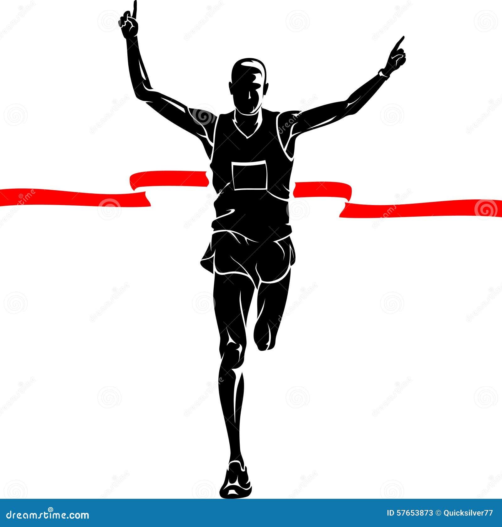 marathon winner male silhouette stock vector clip art of running people clip art of runners in a race