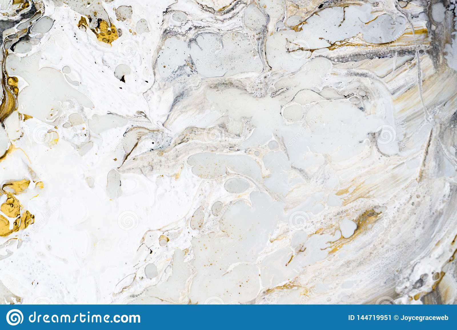 Marble background texture with gold, black, grey and white colors, using acrylic pouring medium art technique. Useful as a