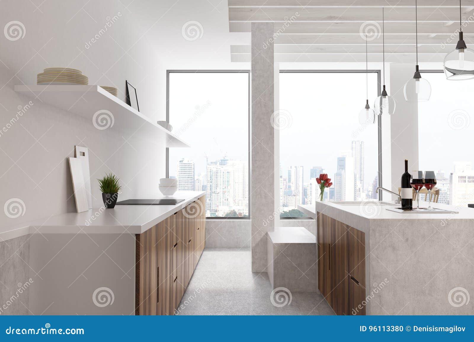 Marble Bar White Kitchen, Window, Front Stock Illustration ...