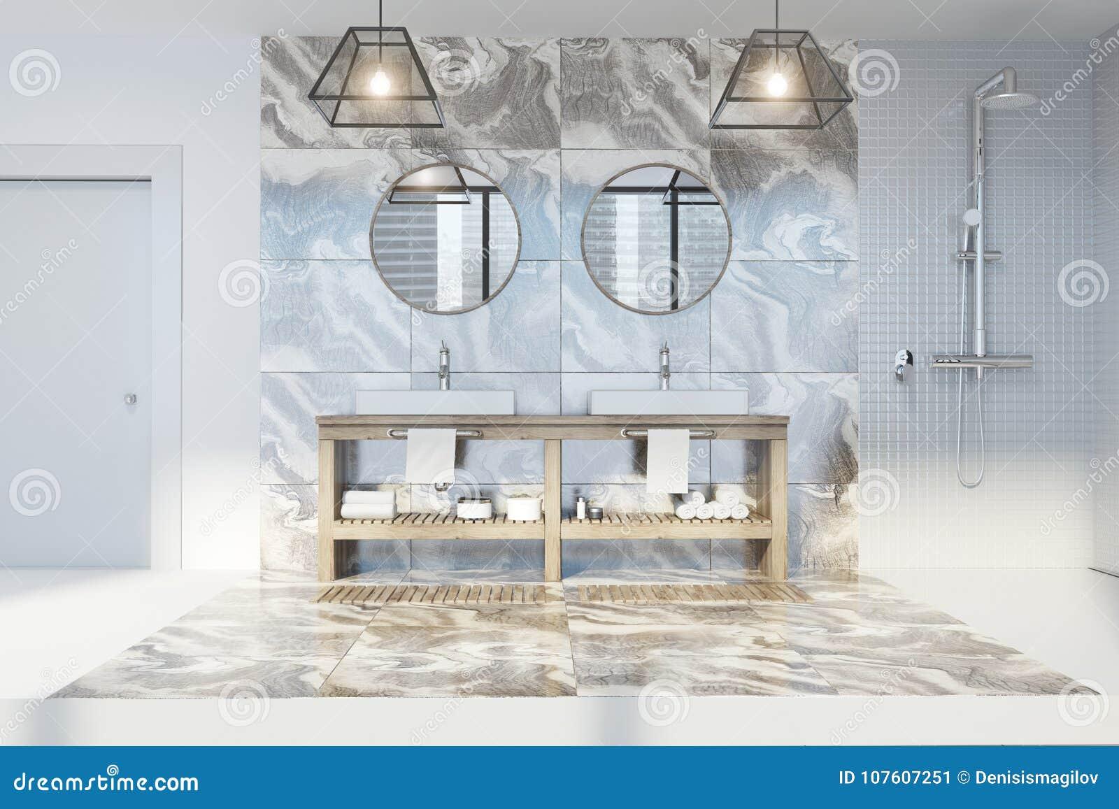 Marble Bathroom, Double Sink Round Mirrors Stock Illustration ...