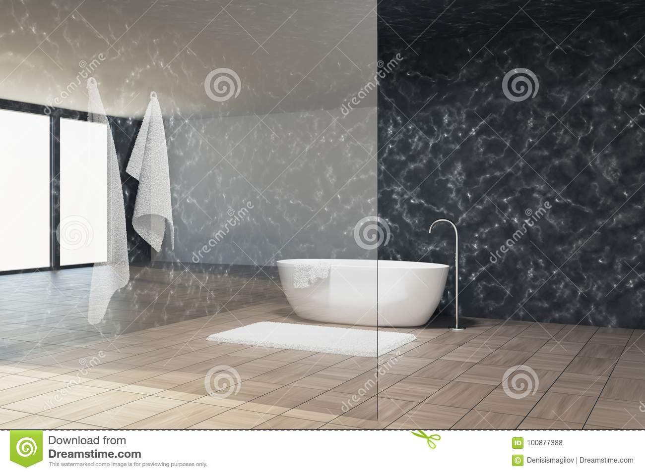 Marble Bathroom Interior Glass Wall Tub Stock Illustration Illustration Of Luxury Interior 100877388