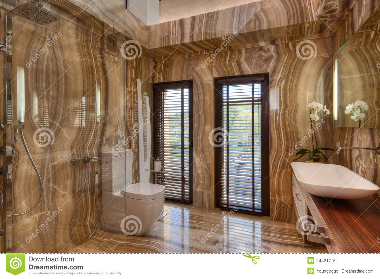 Marble Bathroom In Modern House Royalty Free Stock Photo