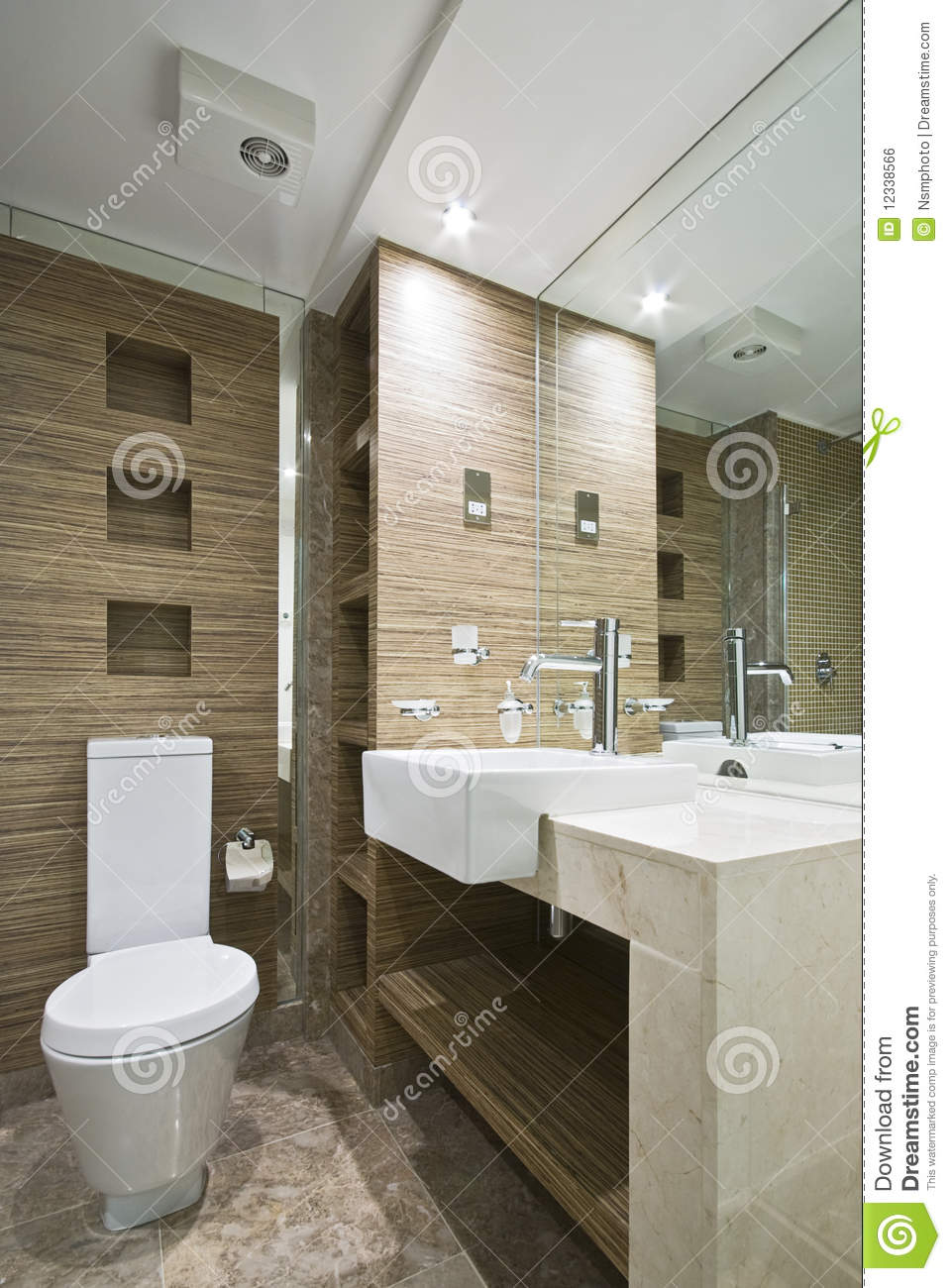 Marble Bathroom With Mosaic Tiles Royalty Free Stock Image