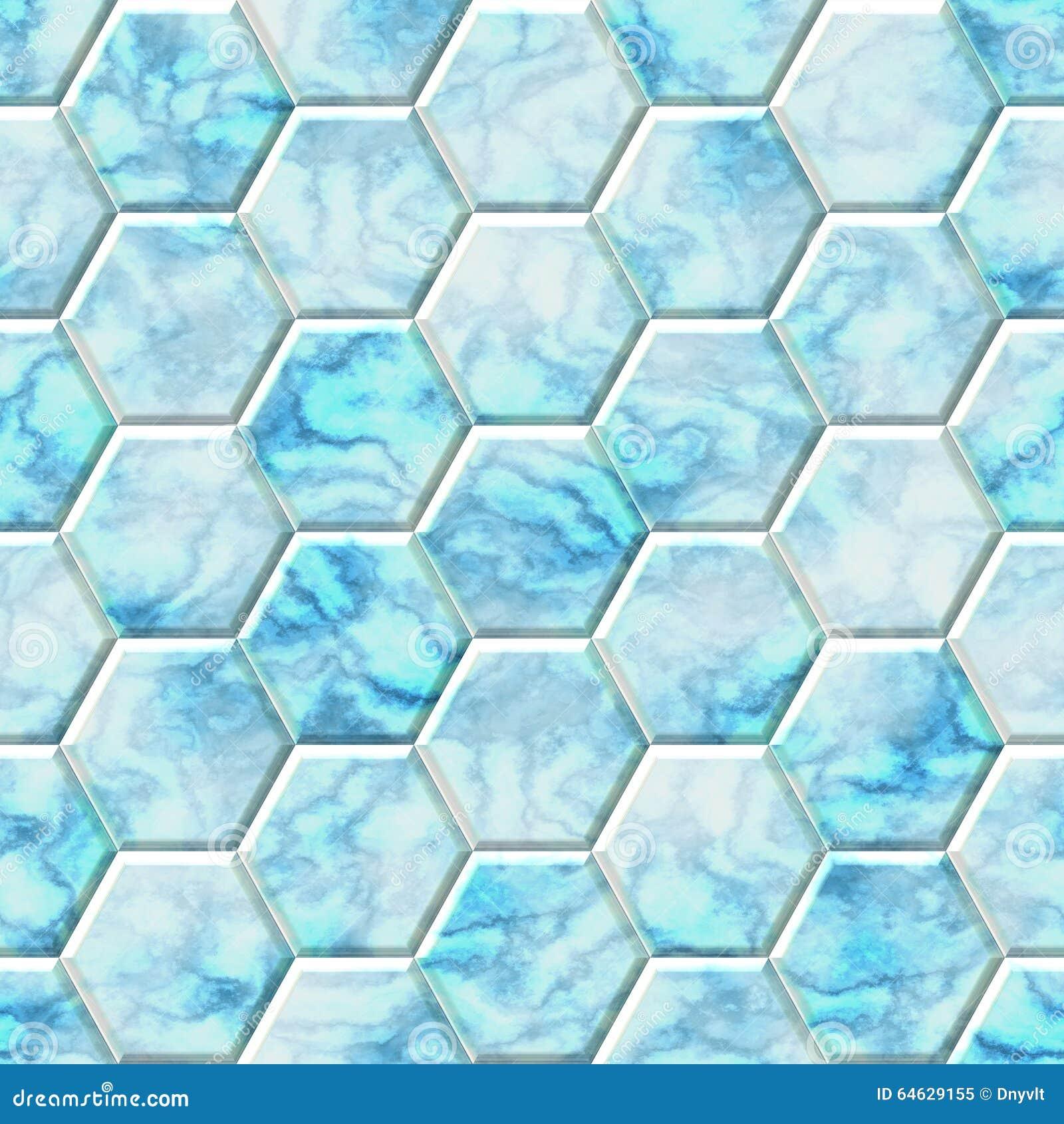 Marble Blue White Seamless Hexagon Background Stock