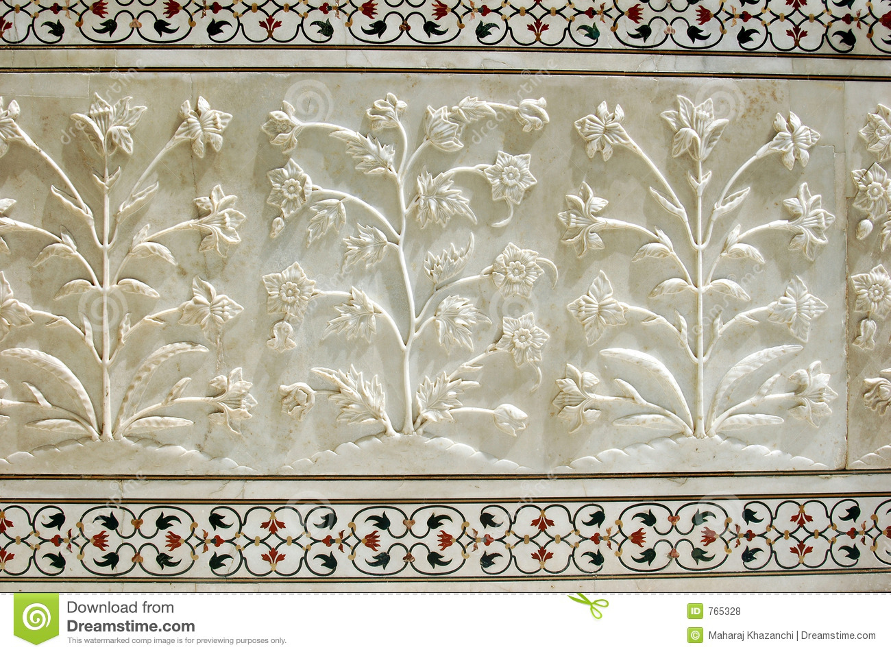 Marble Carving At Taj Mahal Agra Stock Photo Image Of