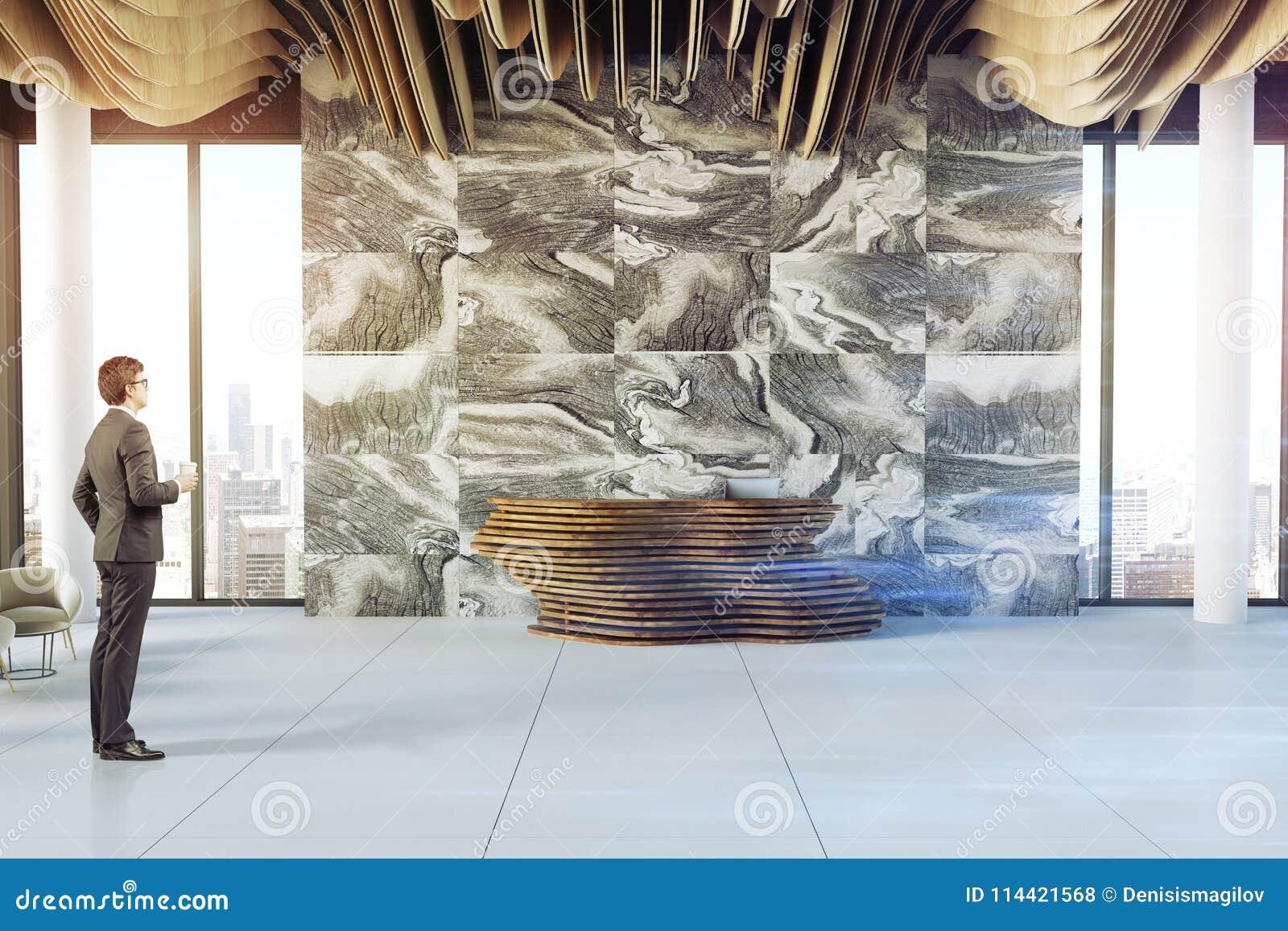 Marble Company Office Reception, Businessman Stock Photo