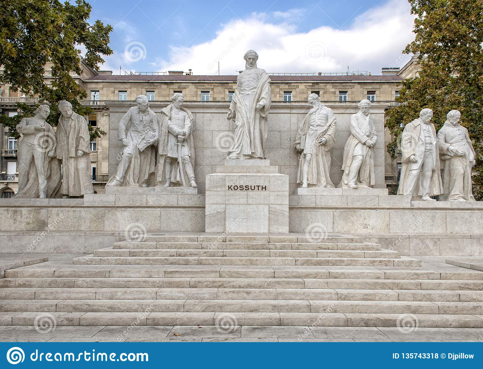 Marble complex of statues with central figure Lajos Kossuth, standing among fellow politicians, Kossuth Square, Budapest, Hungary