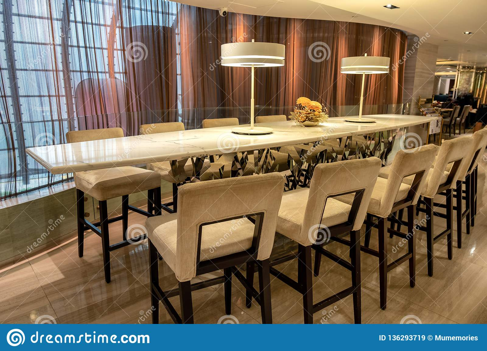 Marble Dining Table With Wooden Chairs In Restaurant Stock Image Image Of Interior Drink 136293719
