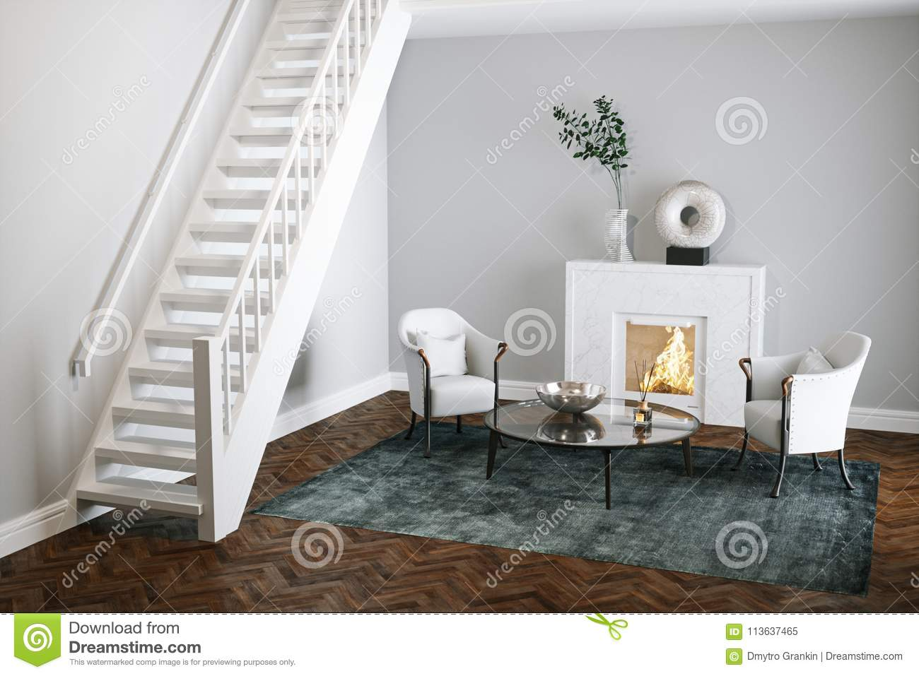 Marble Fireplace In White Living Room With Wood Floor 3d Render ...
