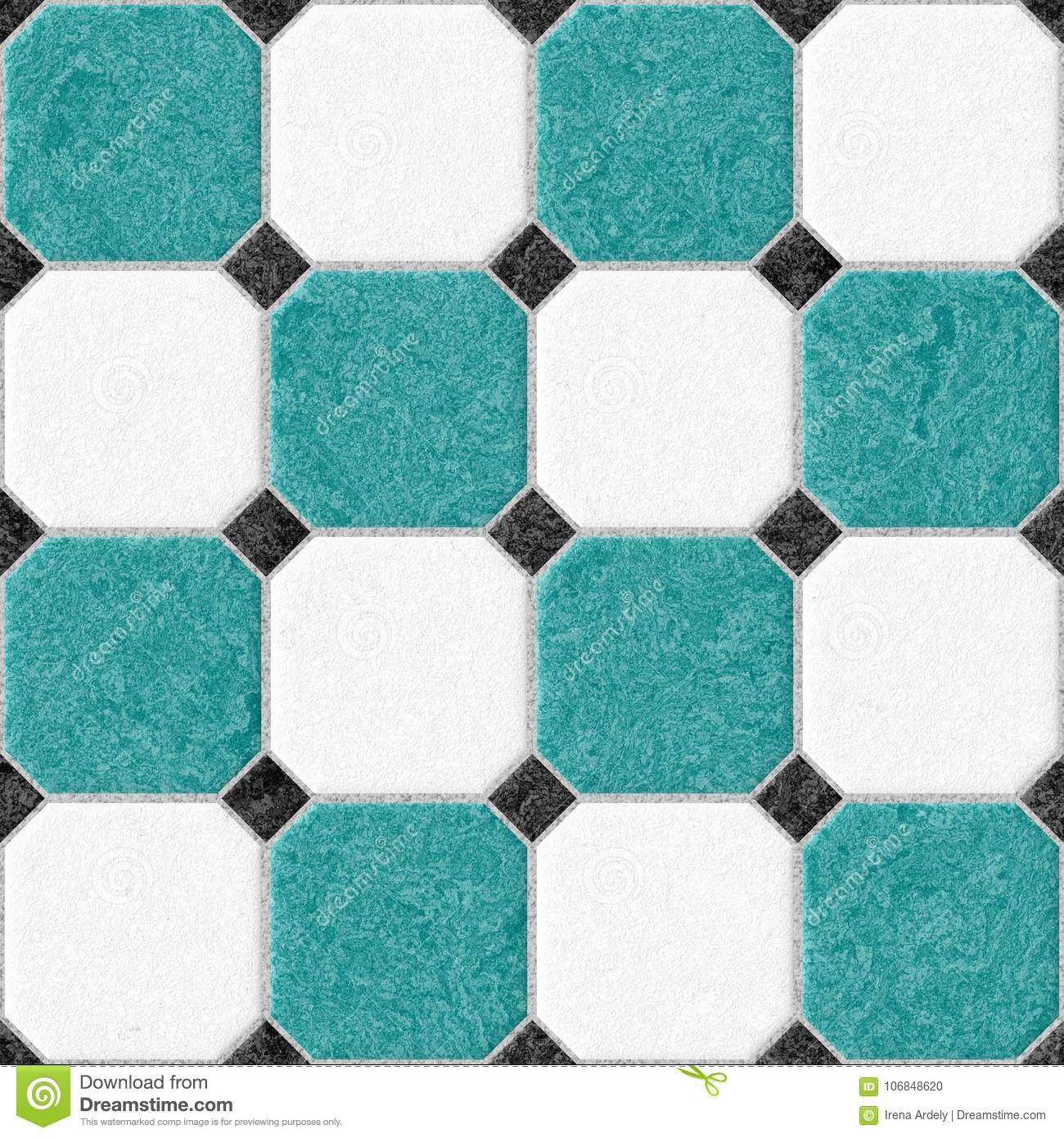 Marble Floor Tiles With Black Rhombs And Light Gray Gap Seamless ...
