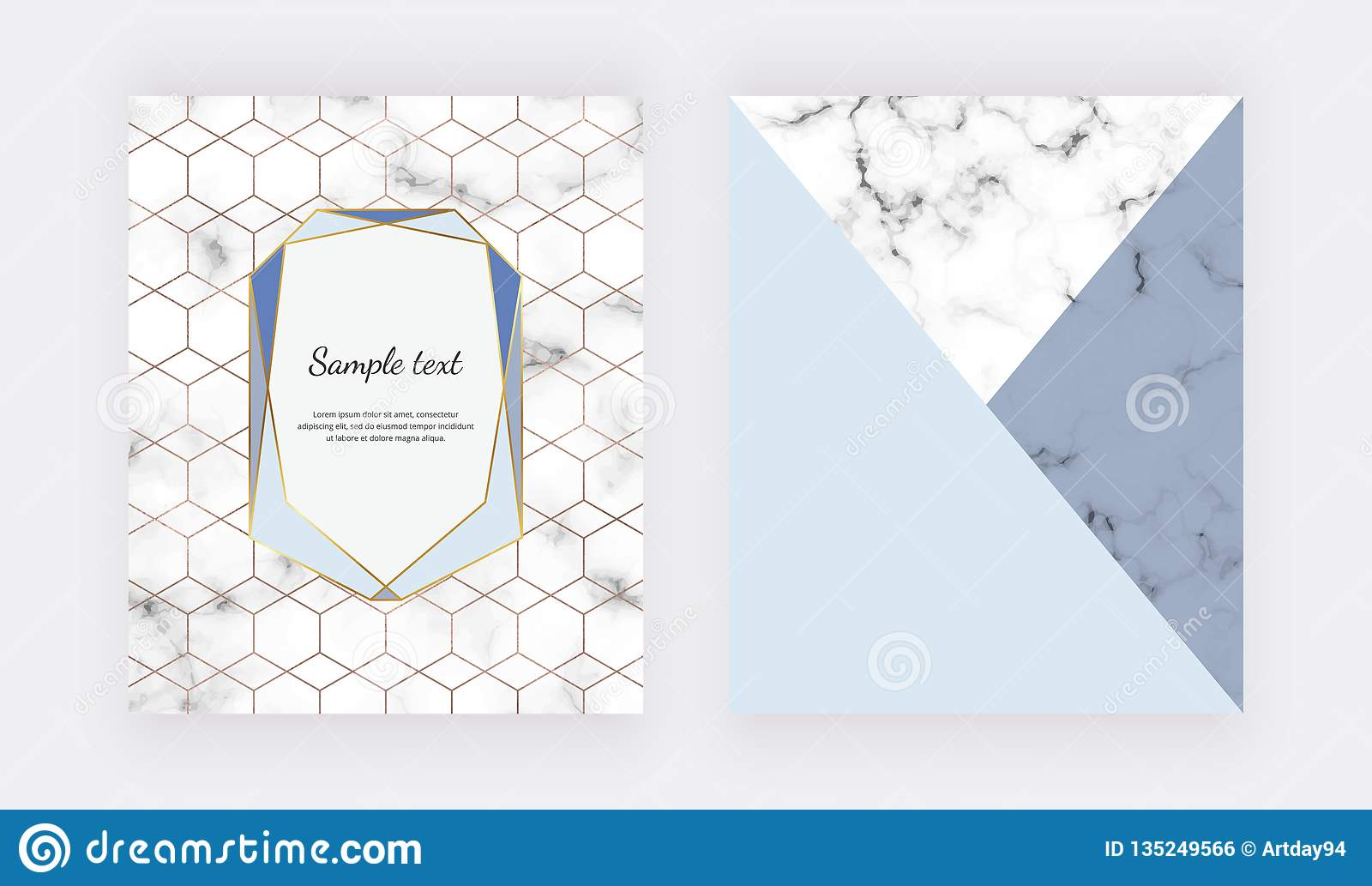 Marble Geometric Design With Blue Triangular Foil Textures Modern