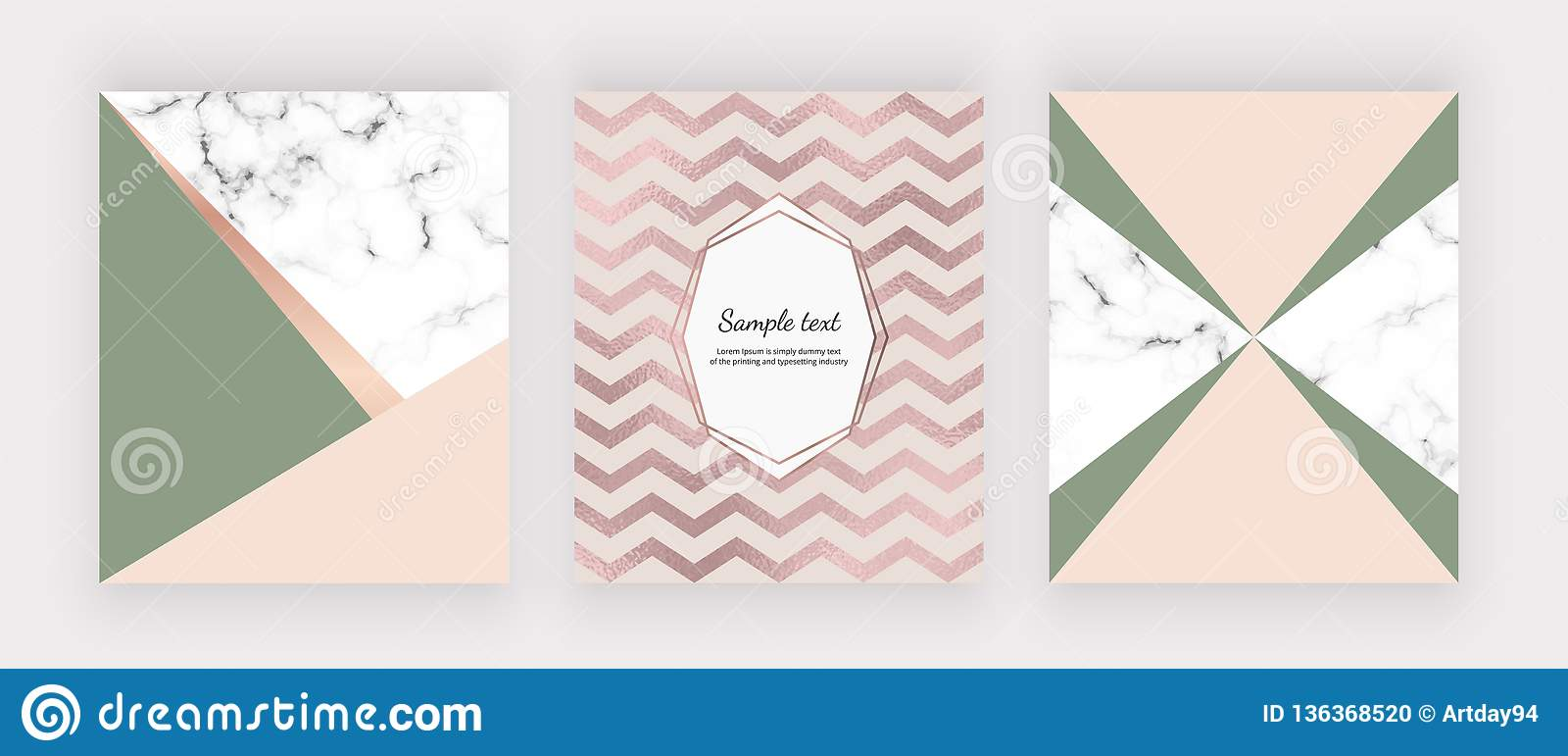 Marble geometric design with pink and green triangular, chevron foil texture. Modern templates for wedding invitation, banner, log
