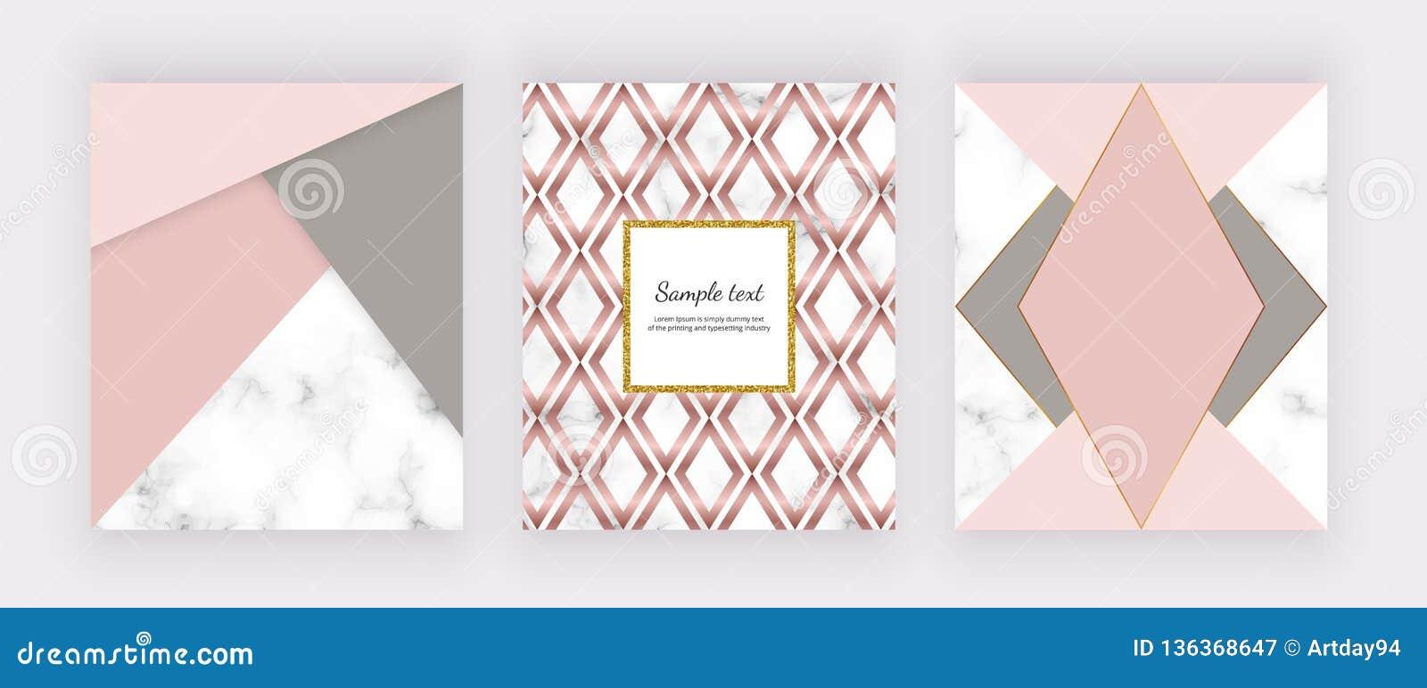 Marble Geometric Design With Pink And Grey Triangular Geometric