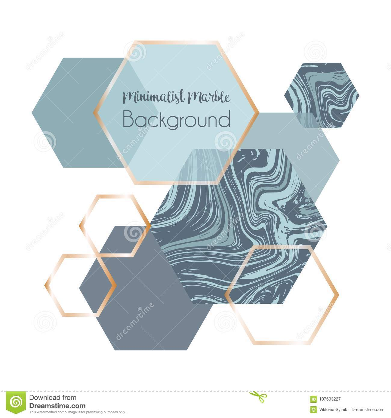 Marble geometric poster template or background in trendy minimalist style with stone, hexagon.