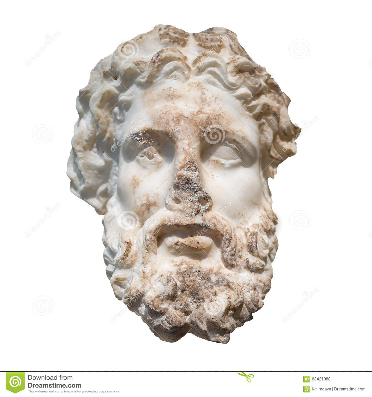 Marble Head Of The Greek God Zeus Isolated On White Stock